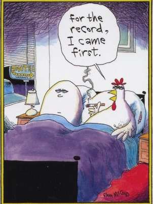 Egg first or hen