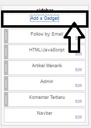 Add a Gadget Berlangganan Via Email Di Blog