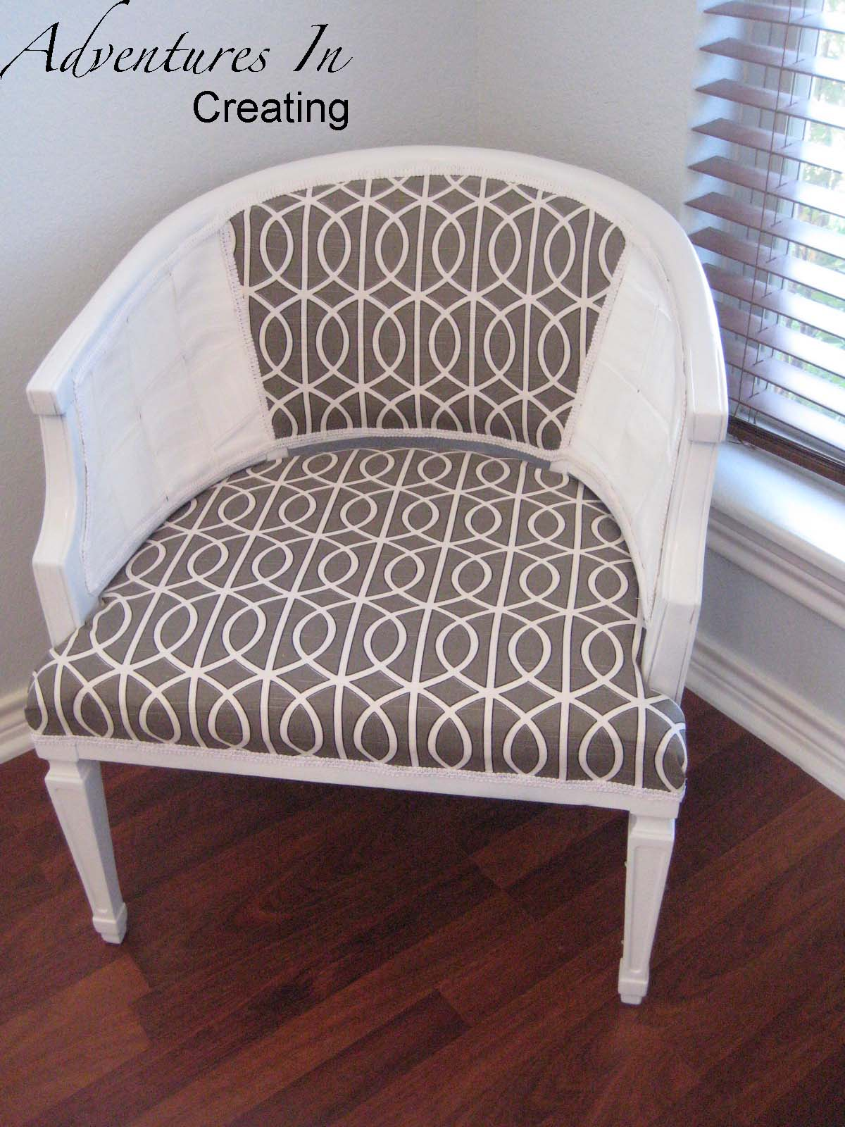 Adventures In Creating  Reupholstered Cane Chair