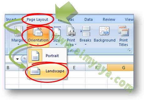 Gambar: Cara merubah orientasi kertas landscape atau portrait dengan cepat dan mudah di Microsoft Excel
