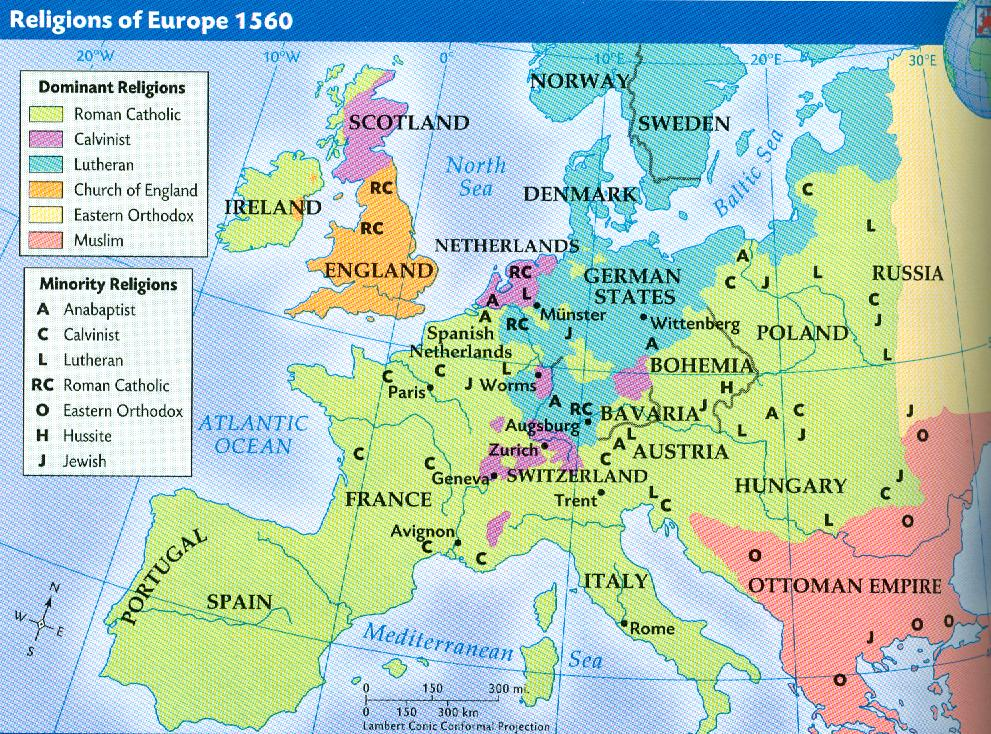 World History Romo Protestantism Map Science WIL 32 12915