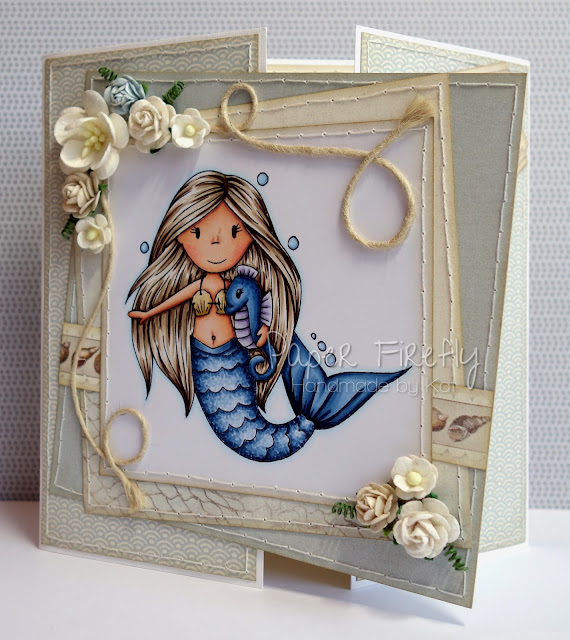 Gatefold card featuring mermaid Ellie by The Paper Nest Dolls