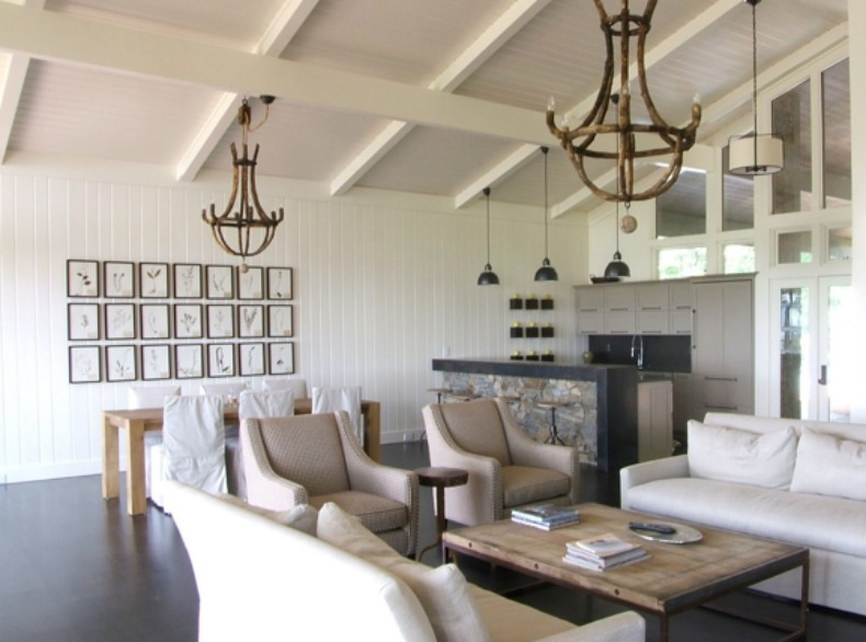Wood Chandeliers, Coastal Living Room, White Slipcover Sofas And Chairs