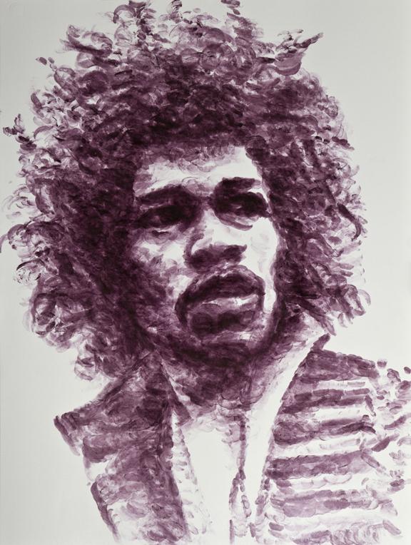 Retrato de Jimi Hendrix pintado com beijos por Natalie Irish
