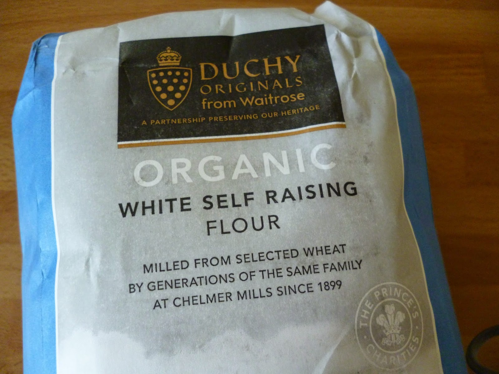 a bag of organic flour