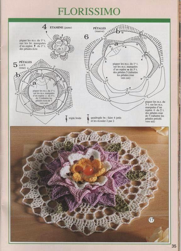 Carpeta al crochet con centro floral con patron