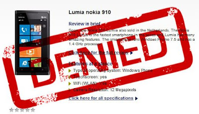 The 12 MP Nokia Lumia 910 rumor officially refuted