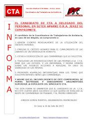 EL CANDIDATO DE CTA A DELEGADO DEL PERSONAL EN SETEX APARKI O.R.A. JEREZ SE COMPROMETE