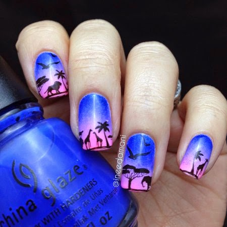 blue purple pink sunset gradient african safari nails