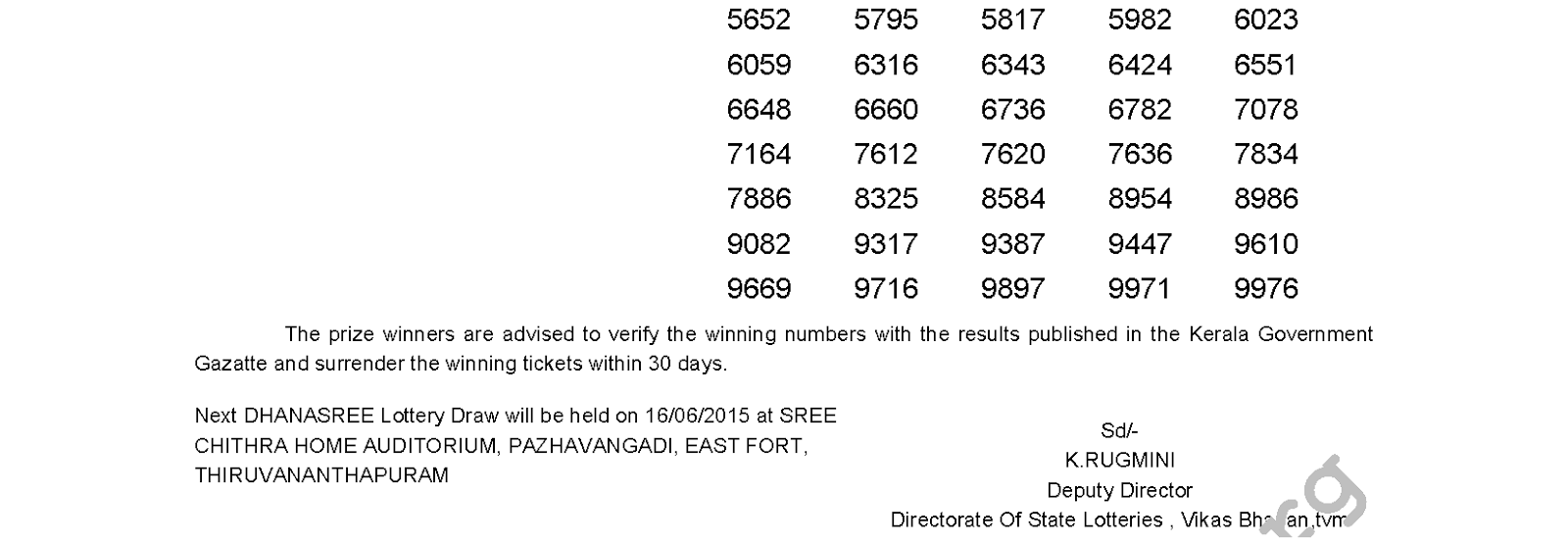 DHANASREE Lottery DS 189 Result 9-6-2015