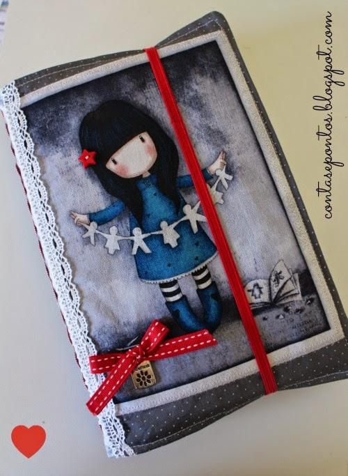 Capa de livro em tecido - Gorjuss