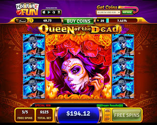 Big winner screen of Queen of the Dead slots from House of Fun at Facebook