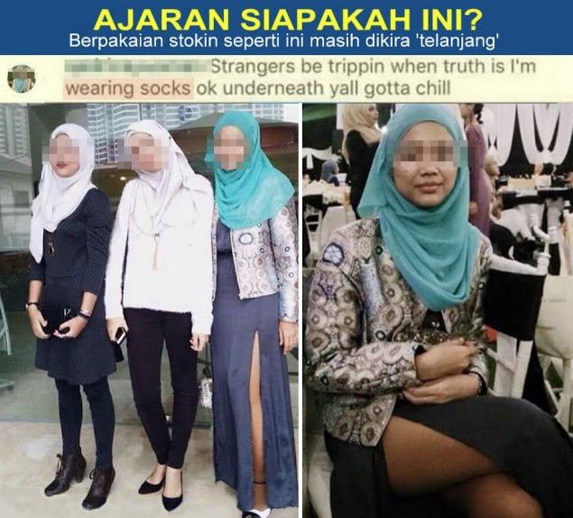 Penjelasan gadis bertudung skirt belah sampai peha