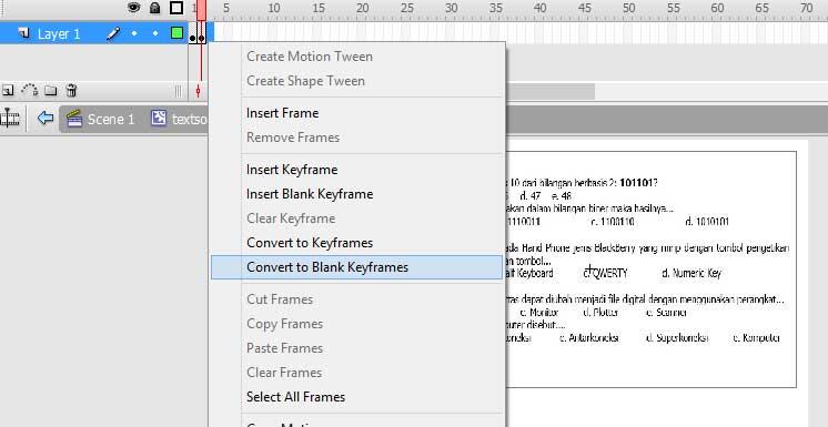 Membuat kuis / Ujian / Ulangan Dengan Adobe Flash