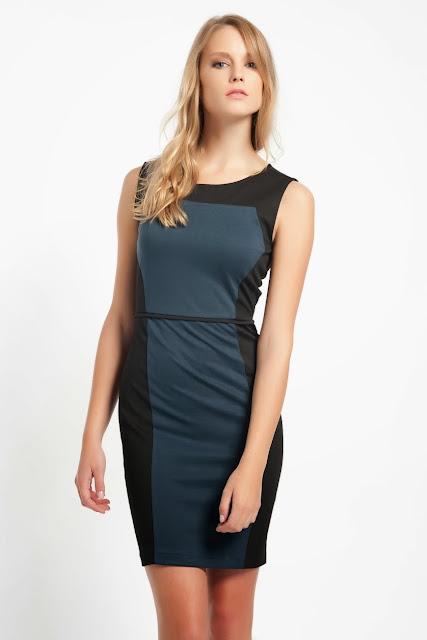 2014 mavi siyah renk elbise dar kesim koton 2014
