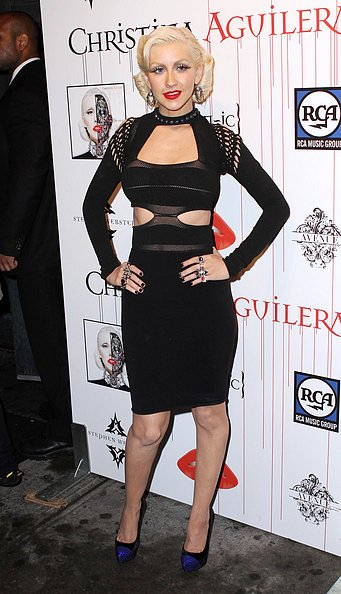 kristina aguilera black dress with cut out