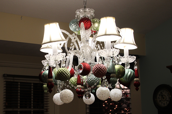 Christmas ornament decorated chandelier Samantha Walker blog