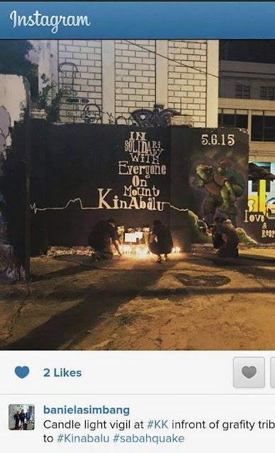 graffiti gempa bumi sabah