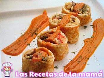 Receta de Rollitos de revuelto de setas y champiñones con salsa de tomate