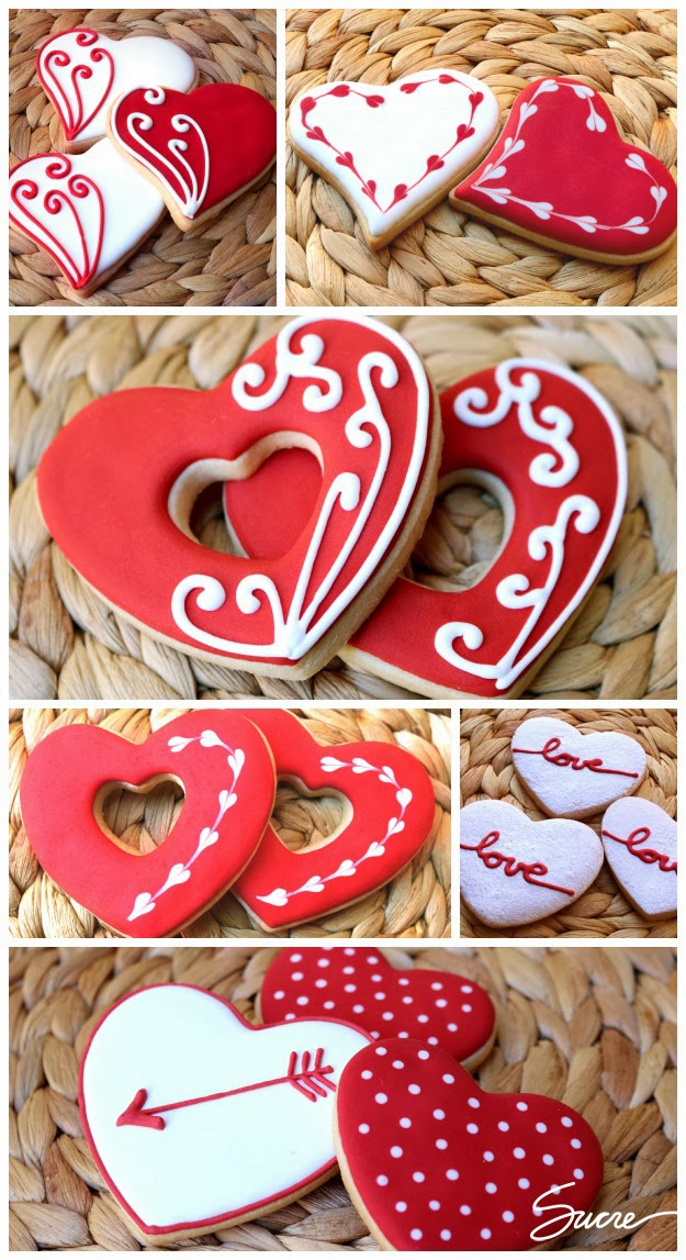 galletas decoradas corazón, galetes decorades cor, heart decorated cookies