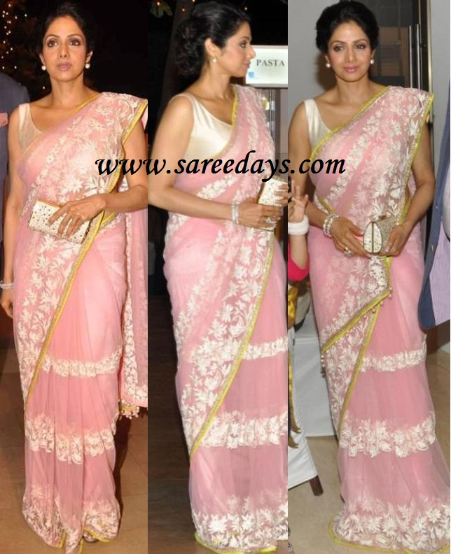 Latest saree designs sridevi in beautiful pink manish malhotra checkout actress sridevi in beautiful pink manish malhotra designer saree with white threadwork on the saree and small green border and paired with matching altavistaventures Images