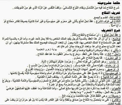 مذكرة كاملة في الفقه المالكي للصف الثالث الثانوي