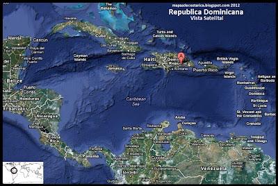 Mapa de República Dominicana en Centroamérica y El Caribe, Vista Satelital