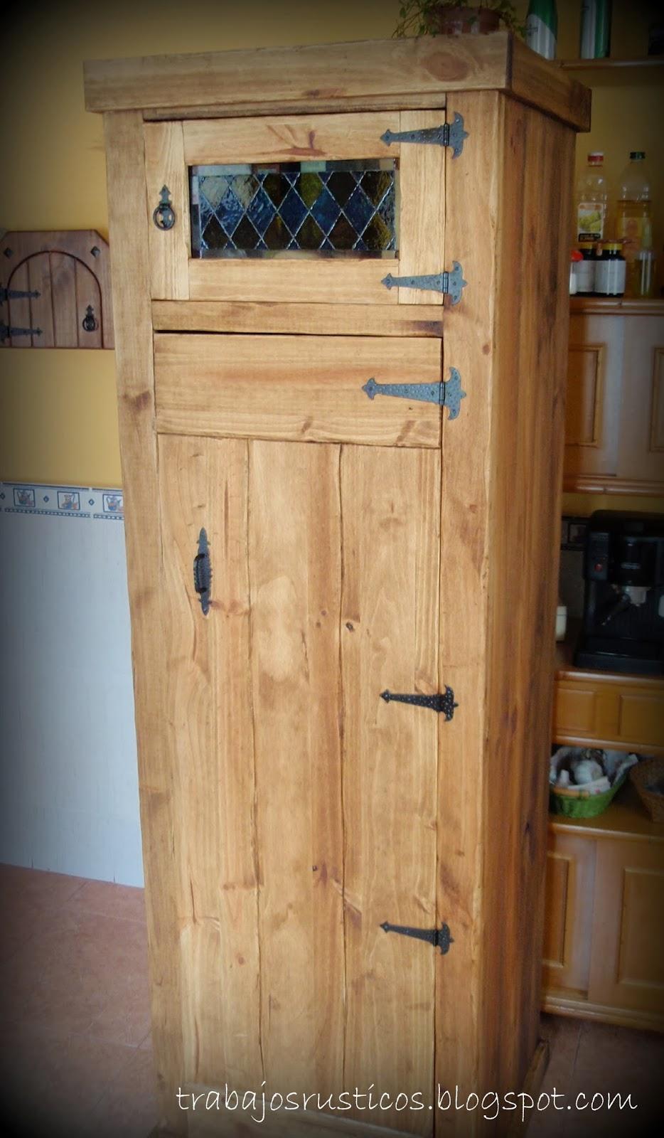 Trabajos r sticos alacena para la cocina - Alacenas de madera para cocina ...