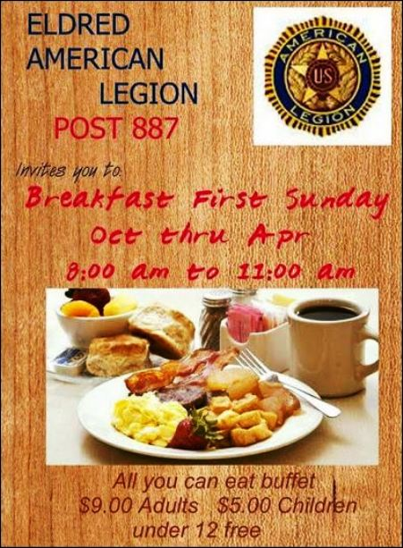 10-1 Eldred Legion Breakfast