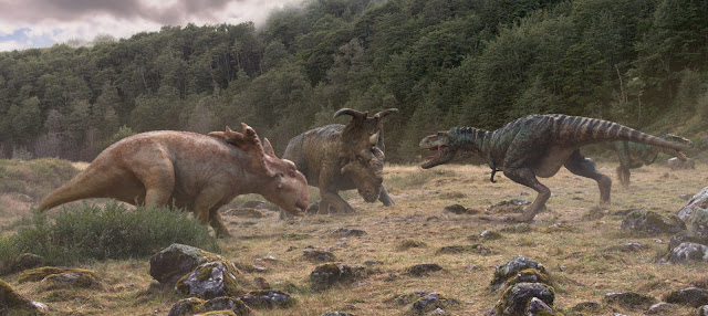 Walking with Dinosaurs movie still - Patchi & Scowler vs. Gorgon