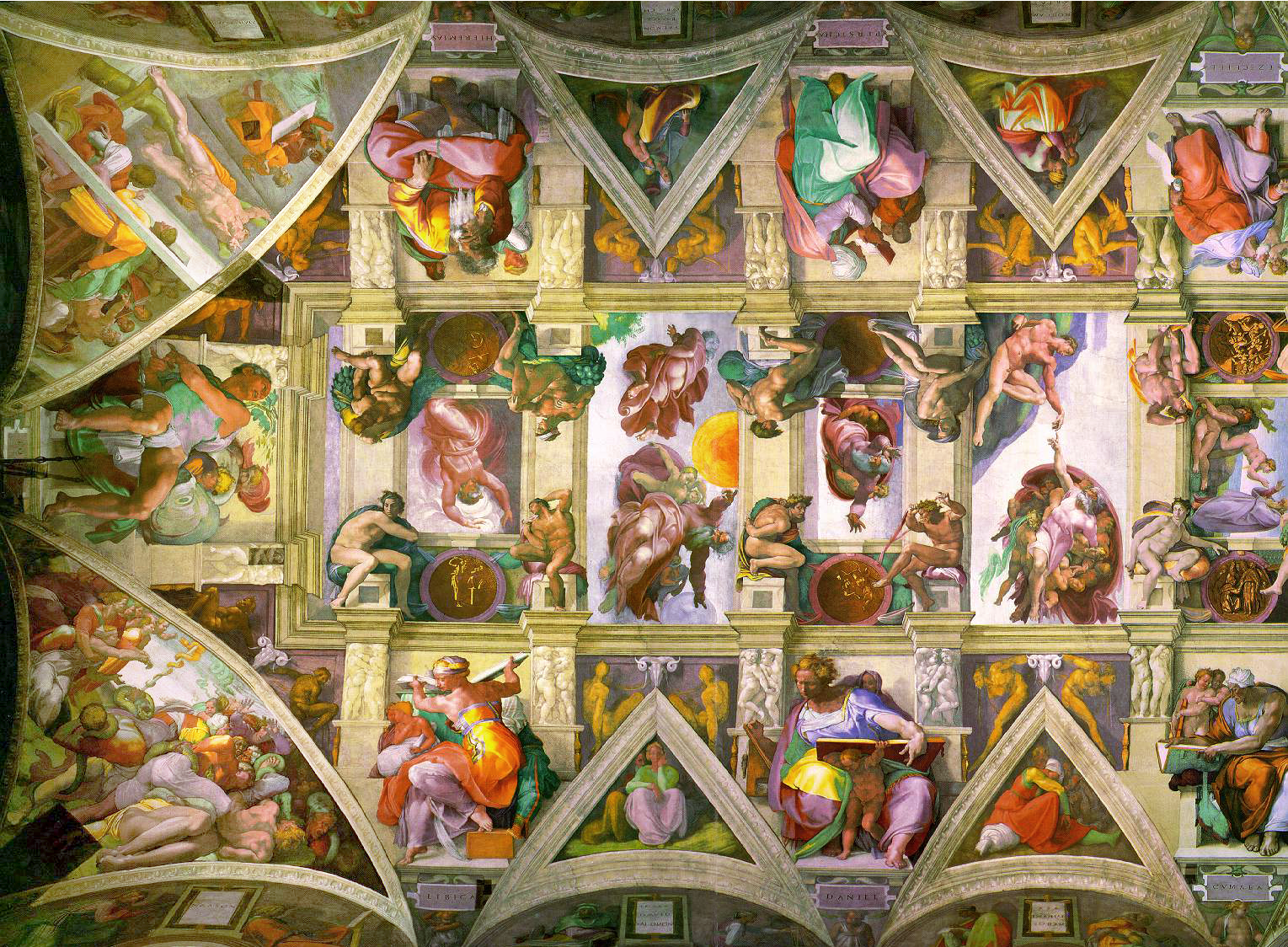 Figures come alive as seen in this view of ceiling after restoration. Photo: WikiMedia.org.
