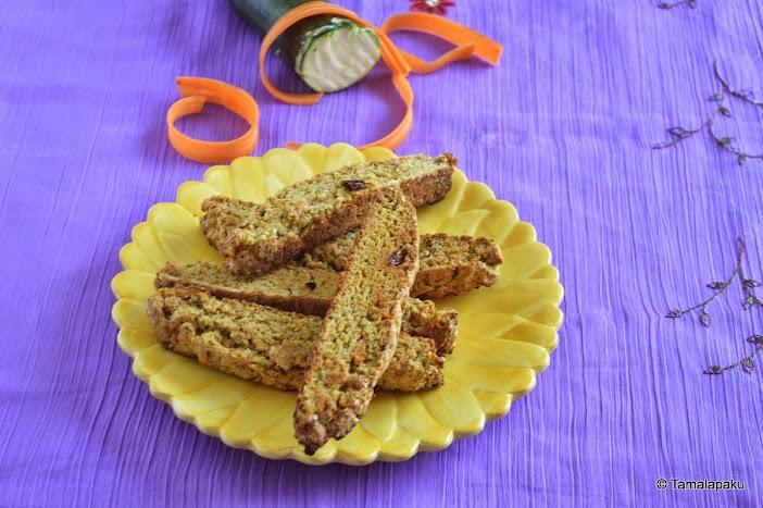 Eggless Zucchini Carrot Biscotti