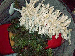 White and green Christmas trees and red Barbie Porsche seen