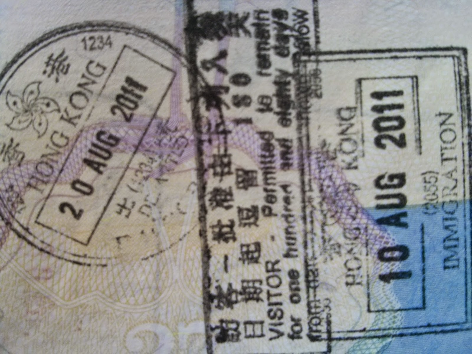 Hong Kong Passport Stamps