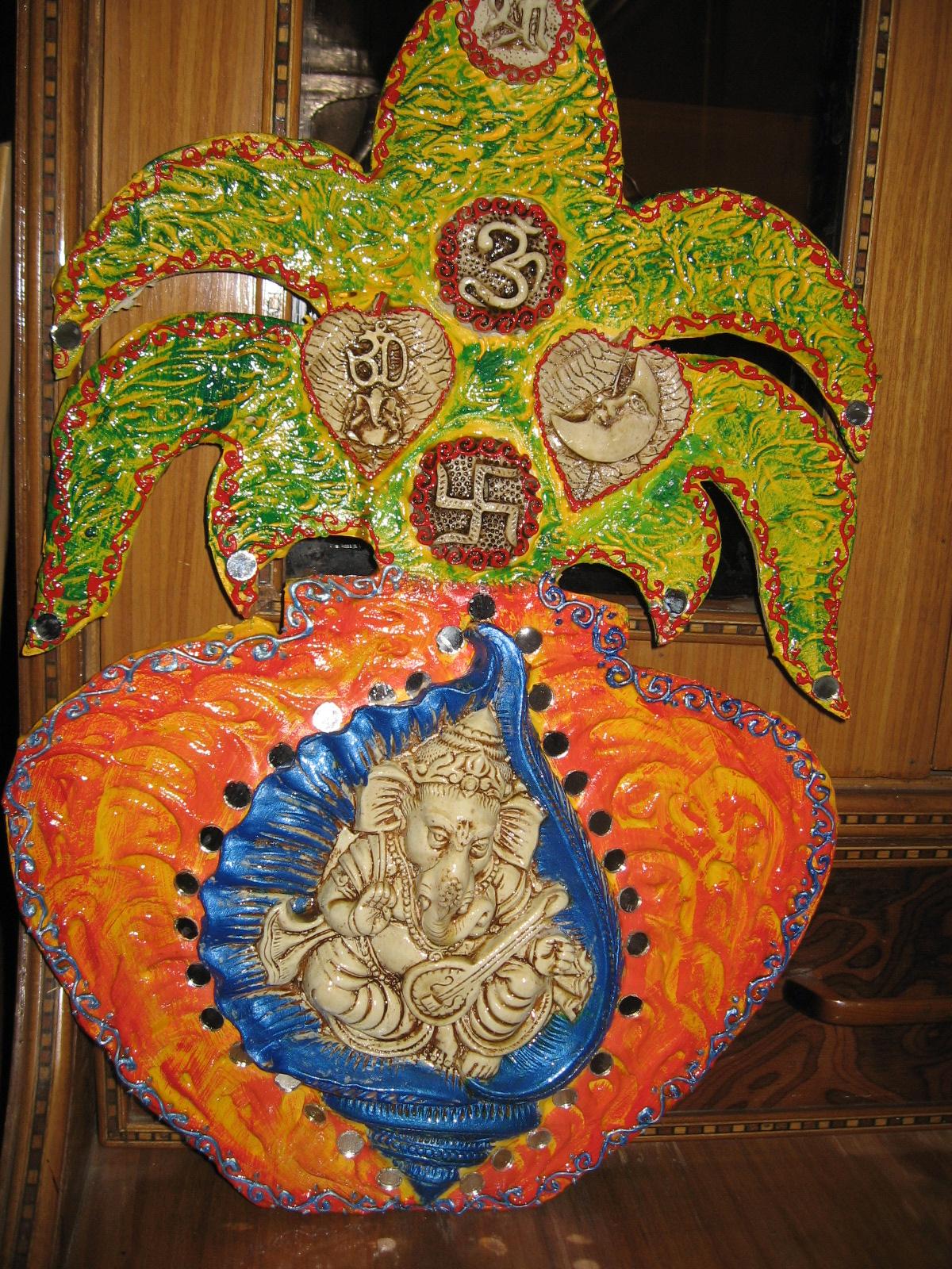 Rose n wrap ganesha mural for Mural ganapathi
