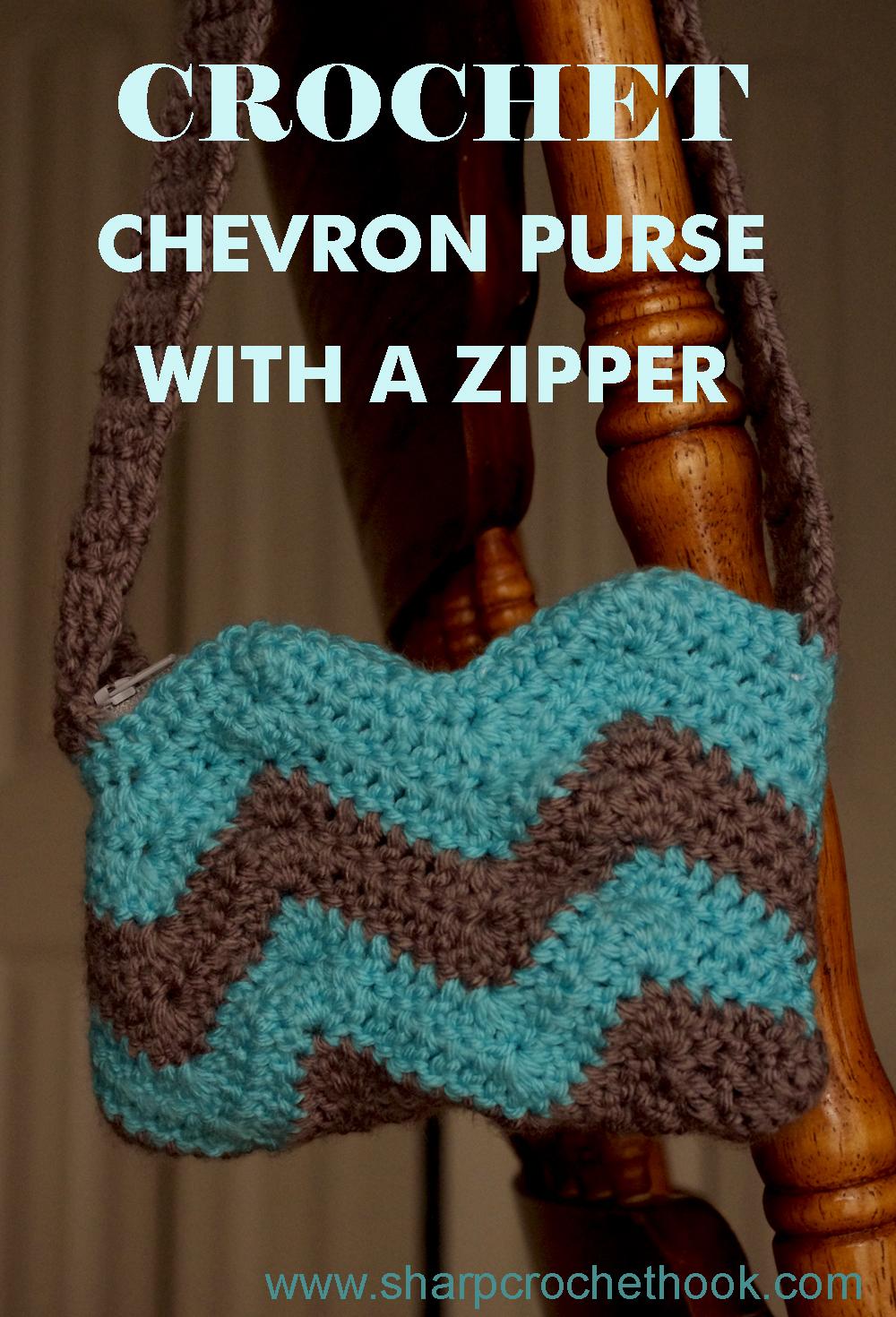 Sharp crochet hook free crochet pattern chevron purse with a zipper bankloansurffo Gallery