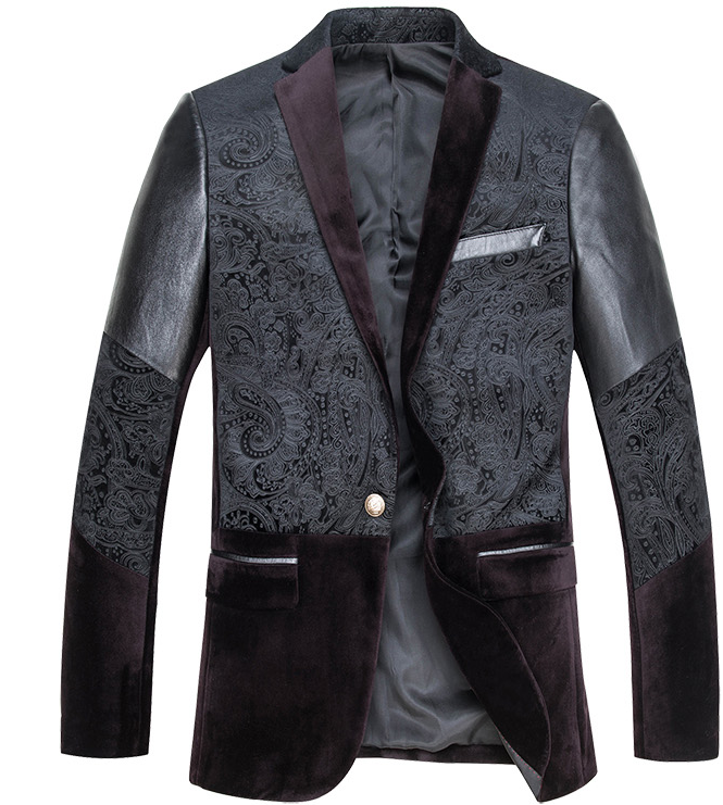 New 3-Tone Leather Sleeve Velvet Paisley Blazer