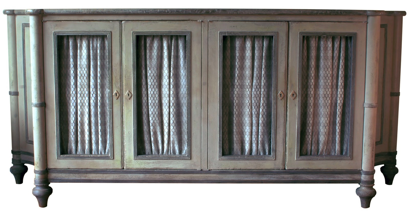 newly made to look antique, a gustavian sideboard painted swedish grey & white and chickenwire doors