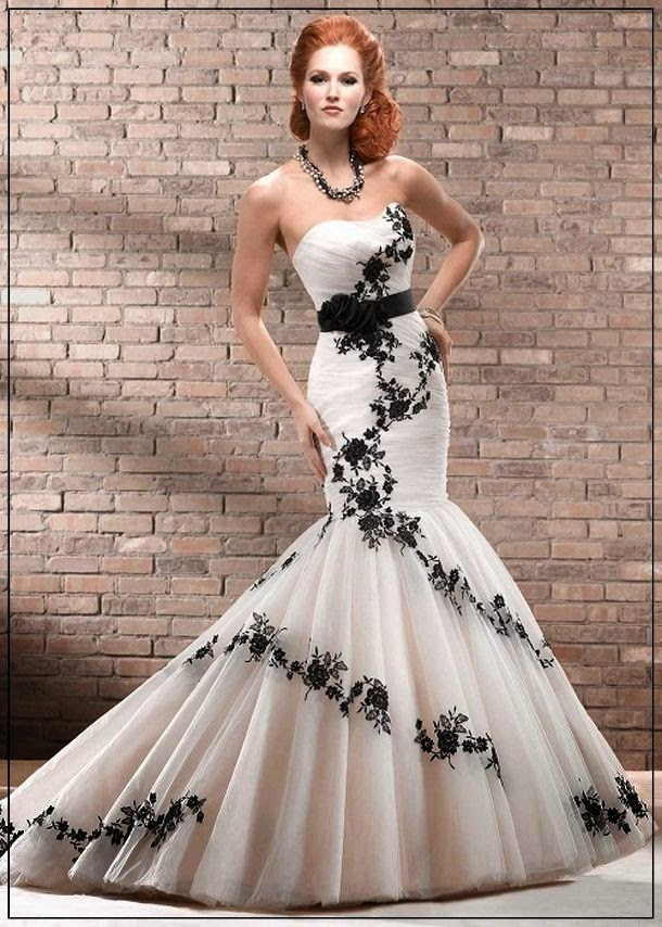 Black and white mermaid wedding dresses for Unique black and white wedding dresses