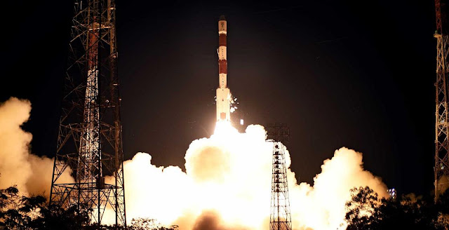One of the Indian Space Research Organisation's Polar Satellite Launch Vehicle lifts off from the Satish Dhawan Launch Site with the PSLV-C28 mission on July 10, 2015. Photo Credit: ISRO
