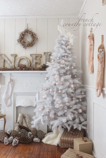beautiful white christmas tree