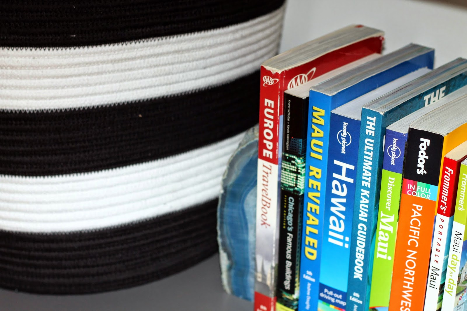 display travel books, black and white basket
