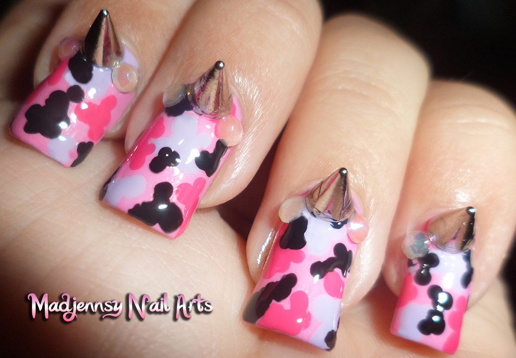 Pink Camouflage Spikes Fashion Nail Art Diseo De Uas