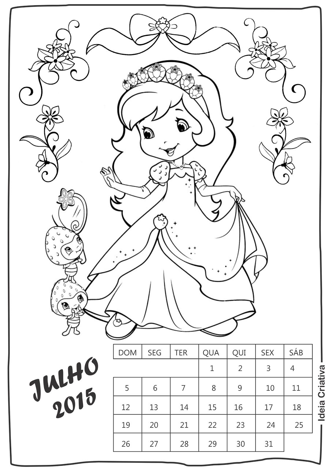 Calendário Julho Moranguinho para imprimir e colorir