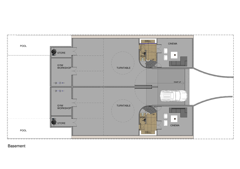 Basement floor plan of Perfect Modern Townhouse by Martin Friedrich Architects