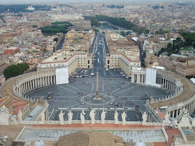 view of the vatican from the dome, tower, st peters square, rome italy
