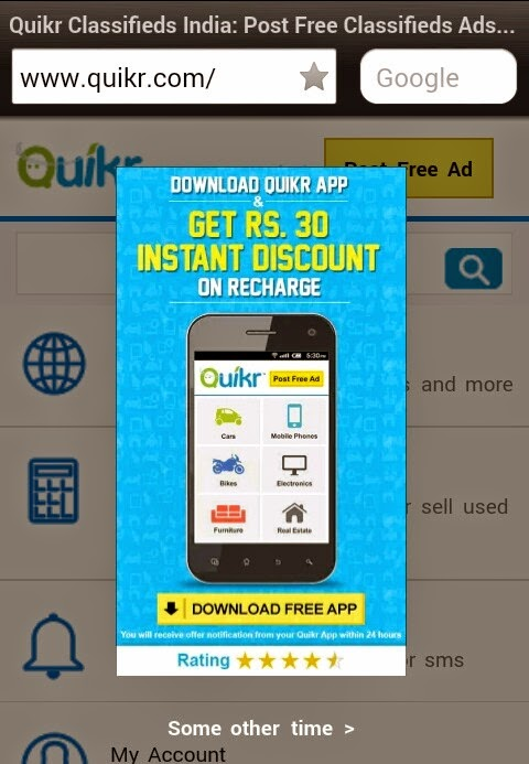 free online mobile recharge for downloading quikr app