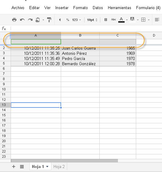Hoja de cálculo en Google Docs siempre ordenada