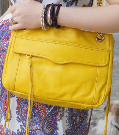 Rebecca Minkoff canary yellow swing bag and bracelet stack