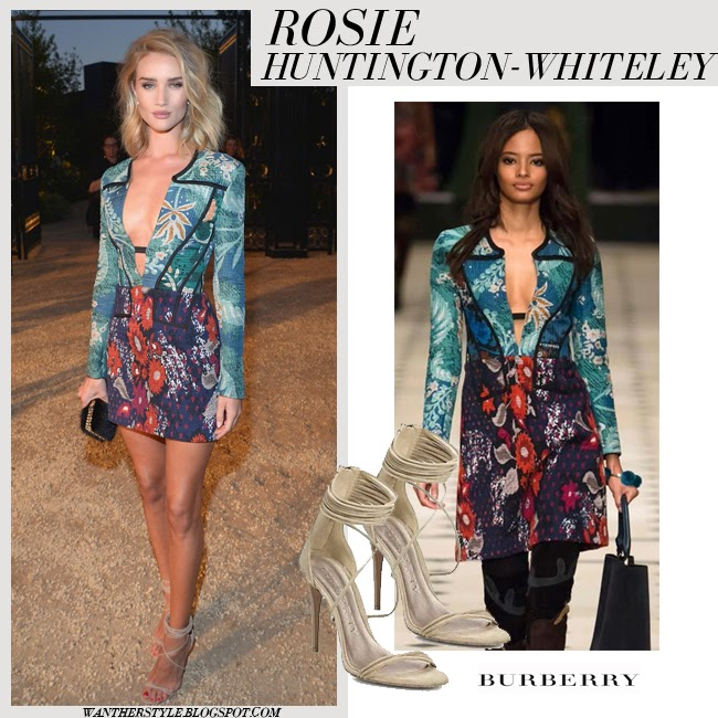 Rosie Huntington-Whiteley in green and blue floral print v-neck mini dress with long sleeves Burberry fall 2015 want her style